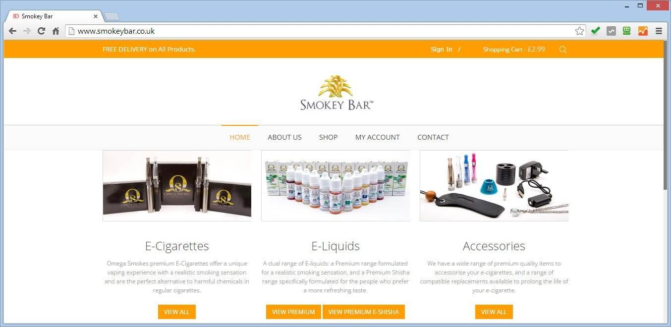 E-Commerce Website For Smokey Bar Selling E-Cigarettes, E-Liquids & Accessories